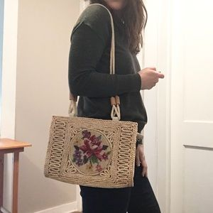 VINTAGE Cross-stitch Straw Bag
